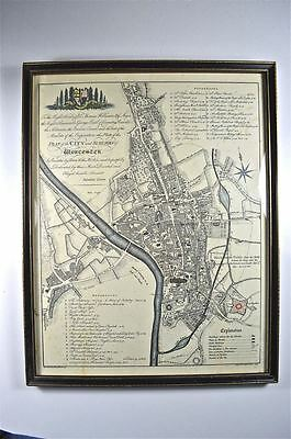 Original antique map plan of the city and suburbs Worcester George Young 1790