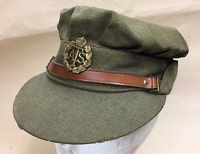 Ww2 Ats Cap,original Complete With Badge.