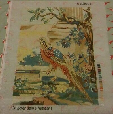 PRINTED TAPESTRY CANVAS only ~Chippendale Pheasant Vintage ~ READICUT