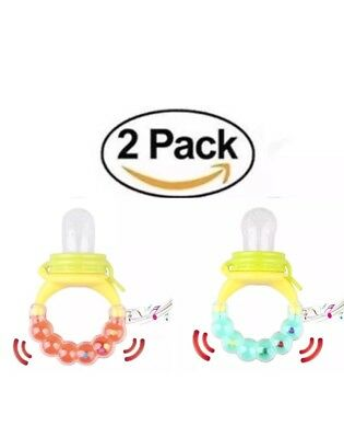 USA 2 Pack Lot Food Nibbler Nipple Feeding Bottle Pacifier Baby Toddler Teether