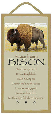 ADVICE FROM A BISON wood INSPIRATIONAL SIGN wall hanging NOVELTY PLAQUE animal