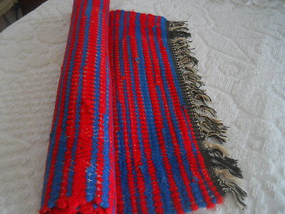Vtg Homemade Hand Crafted Loom--Woven Cotton Rag Rug 27 1/2 W X45 L + Fringes