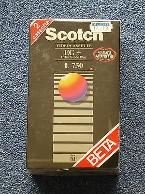 Betamax Tapes - Scotch L-750 EG+ Blank 2 Pack Video Tapes New & Sealed