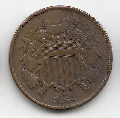 Usa 2 Cents 1864 Shield Copper Scarcer     145M       By Coinmountain