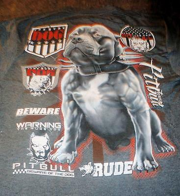 American PiT BuLL Terrier Rude Dog Pitbull Warning Beware T Shirt Extra Large XL