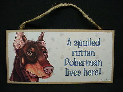 DOBERMAN PINSCHER A Spoiled Rotten DOG wood  SIGN wall PLAQUE red brown puppy