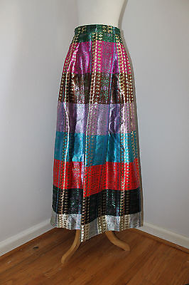 "Vintage 60s Malbe Original Long Pleated Red Metallic Boho Gypsy Maxi Skirt 26"" S"