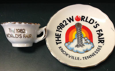 """Vintage Souvenir Collectible """"Cup & Saucer"""" THE 1982 WORLDS FAIR Tennessee Japan"""