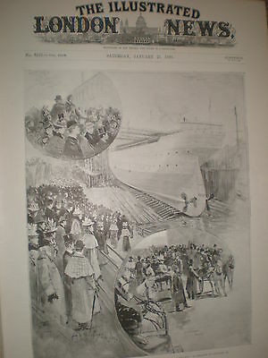 Launch of the White Star ocean liner SS Oceanic 1899 old prints and article