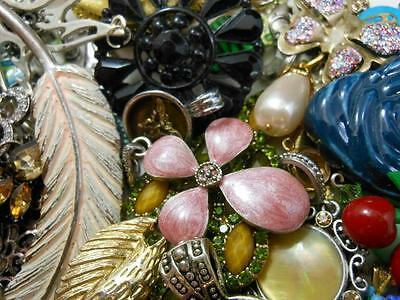 Huge 95 PC Jewelry Lot CHARMS PENDANTS Crafts Re-Purpose Orgone Supply Vtg-Now