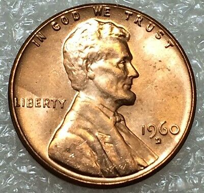 1960 D/D Lincoln Cent ~ Choice BU Red RPM Repunched Mint Mark