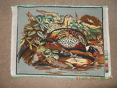 Vintage Creation de Paris Margot hand-stitched completed wool tapestry Pheasants