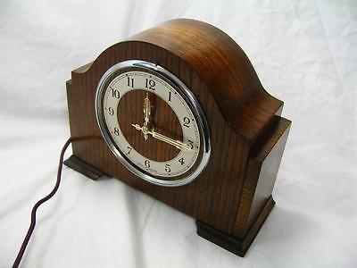 Antique Art Deco Ferranti Mantel Clock Electric & In Working Order Oak Case Old
