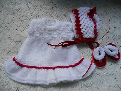 "Doll Clothes white-red  Hand-knitted dress set fit Heidi Ott 8"" Berenguer"