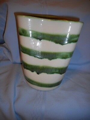 Vintage M A Hadley Whimsical Unusual Pottery Vase Green White