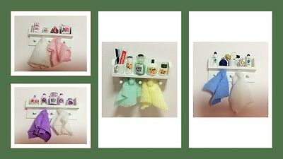 1:12 scale dolls house miniature dressed O.O.A.K bathroom shelf 4 to choose from