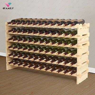 72 Bottles Wine Rack 6 Tier Solid Wood Stackable Holds Storage Display Shelf