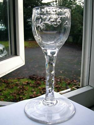 Fine hand cut & flower engraved Georgian Wine glass RF bowl facetted stem C1785