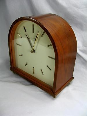 Antique Art Deco Style 8 Day Mantel Clock By Smiths Floating Balance & Paperwork