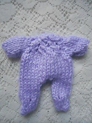 """Doll Clothes Hand Knitted lavender footed romper fit baby 4.5"""" 5"""" H. Handfuls"""