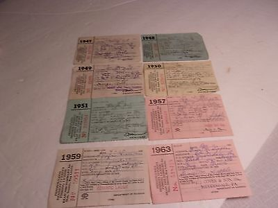 Good Vintage Lot of Eight ( 8 ) Pennsylvania Fishing Licenses