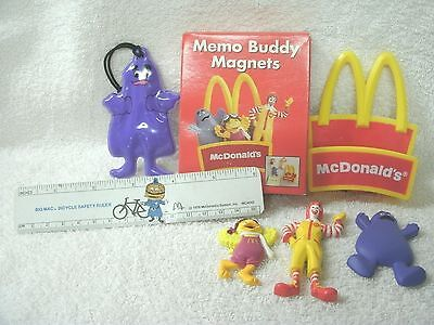 New-McDonald's Memo Buddy Magnets--New--Ruler & Puffy Grimace Ornament