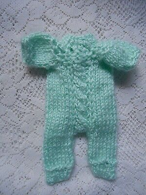 """Doll Clothes mint green Hand knitted one-piece snowsuit for ooak 6"""" to 7.5in"""