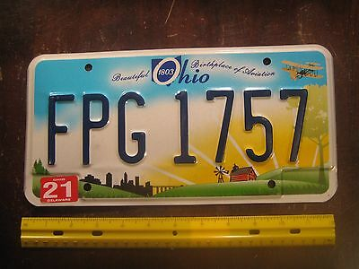 License Plate, Ohio, Beautiful BirthplaceofAviation, Wright Bros.Plane, FPG 1757