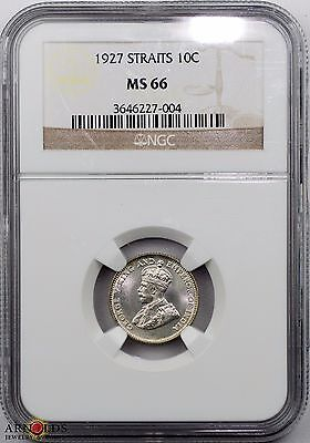 1927 Straits Settlement 10 Cents MS66 NGC Stunning Piece!