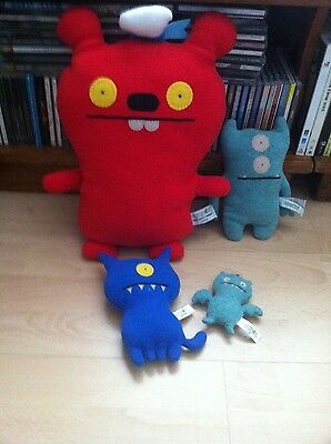 Lot Of 4 Plush Uglydoll Figure Toy - First Mate Trunko Ice Bat Uglydog