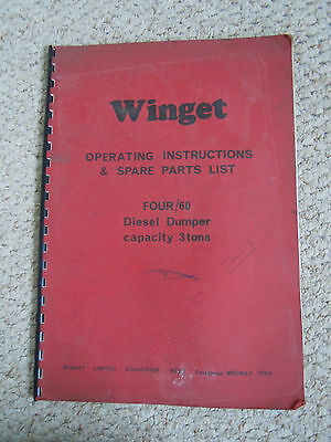 @Winget Four/60 Diesel Dumper 3 Tons Operating Instructions & Spare Parts List@