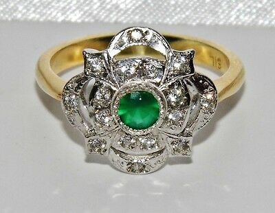 ART DECO 9 CT YELLOW GOLD ON SILVER EMERALD CLUSTER RING - size P