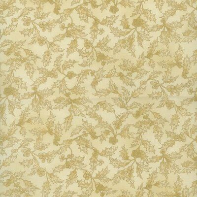SALE Holiday Accents Christmas Cream with Goldish Holly and Berries Fabric 5 Yds
