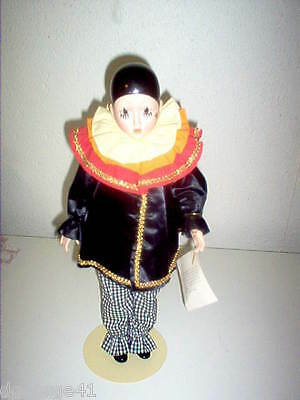 """PIERROT PORCELAIN DOLL by DESIGN DEBUT 18"""" TALL"""