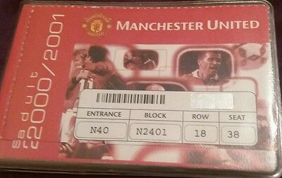 Manchester United Season Ticket Book Season 2000/01With Spare Vouchers