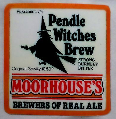 Beer Pump Label. Moorhouses. Pendle Witches Brew. Strong Bitter.  Fascia Only
