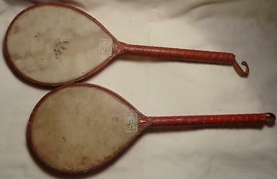 Antique Ping Pong Table Tennis Bats Velium Heads