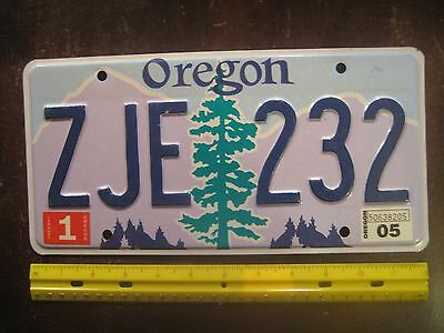 License Plate, Oregon, 2005, Pine Tree, ZJE 232, Purple Mtns, Blue Sky