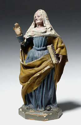 ARTEMIS GALLERY 19th C. European Painted Wood / Cloth Madonna