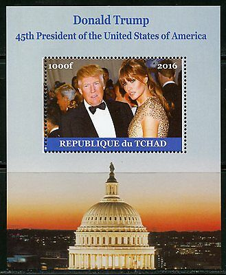 CHAD 2016  DONALD TRUMP 45th PRESIDENT OF THE UNITED STATES &  MELANIA S/S MINT