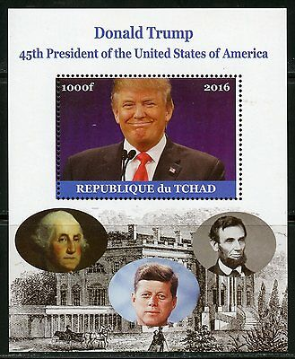CHAD 2016  DONALD TRUMP 45th PRESIDENT OF THE US  JFK LINCOLN & WASHINGTON  MINT