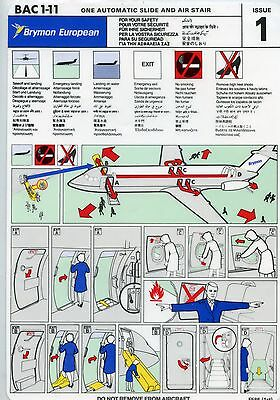 Airline Safety Card Brymon European BAC 111