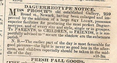 Daguerreotype Notice By Miss Prosch's Old Established Gallery Ad 1849 Newspaper