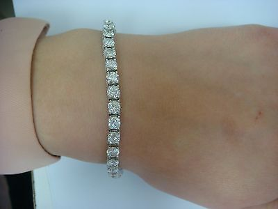 10 Carat T W High End Diamond Tennis Bracelet 14k White Gold 4 Gs Setting
