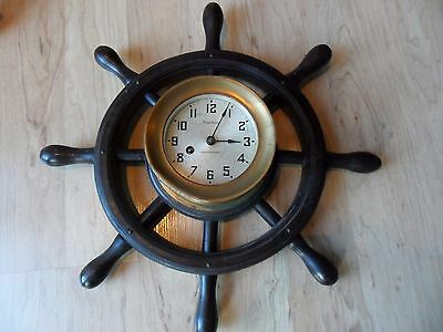 Rare 1943 WATERBURY SHIPS WHEEL CLOCK WITH KEY World War 2 History Normandy