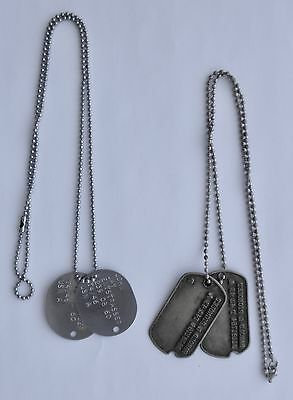 Two Sets of World War II DOG TAGS~~All Original
