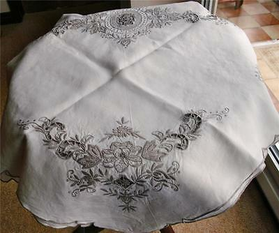 Beautiful Heavy Irish Linen Antique Madeira Tablecloth With Unusual Needlelace