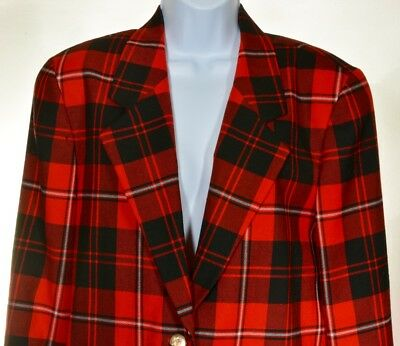 Vintage 70's Highland Queen Red Tartan Wool Blazer ~ Womens Size 6 ~ Fully Lined
