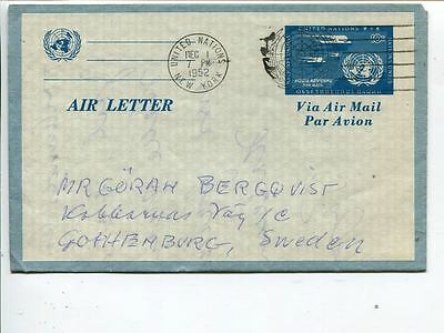 United Nations New York aerogramme to Sweden 1952