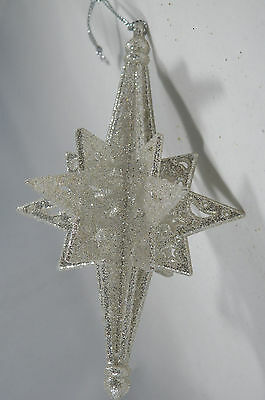 Silver Glittered Snowflake Christmas Tree Ornament new holiday